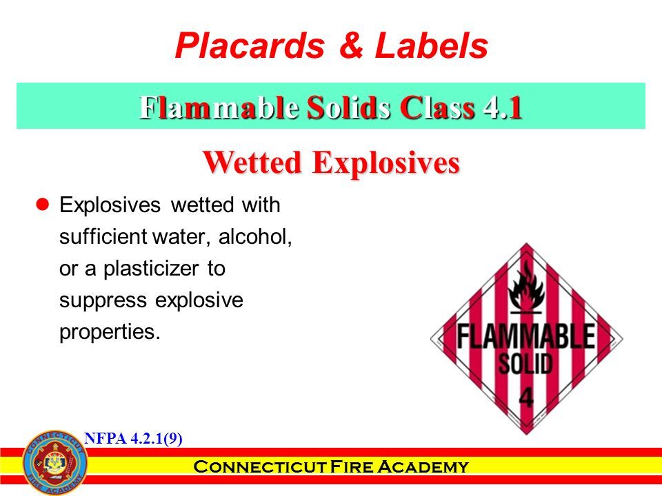 Connecticut Fire Academy Wetted Explosives Explosives wetted with sufficient water, alcohol, or a plasticizer to suppress explosive properties.