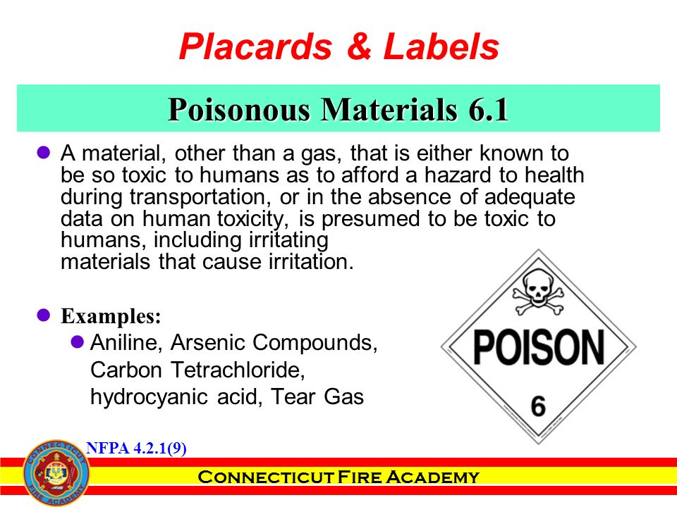 Connecticut Fire Academy Poisonous Materials 6.1 A material, other than a gas, that is either known to be so toxic to humans as to afford a hazard to health during transportation, or in the absence of adequate data on human toxicity, is presumed to be toxic to humans, including irritating materials that cause irritation.
