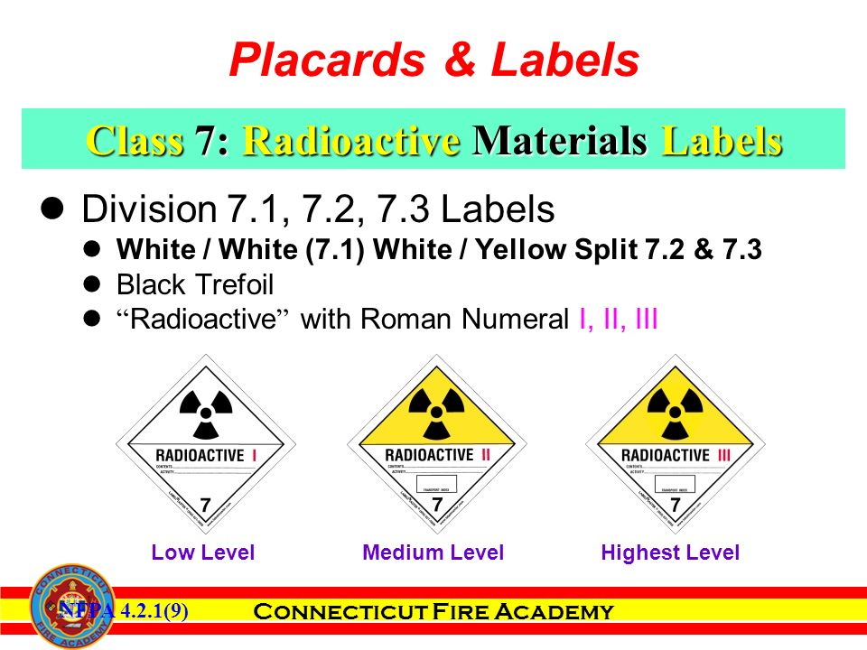 Connecticut Fire Academy Division 7.1, 7.2, 7.3 Labels White / White (7.1) White / Yellow Split 7.2 & 7.3 Black Trefoil Radioactive with Roman Numeral I, II, III Class 7: Radioactive Materials Labels Highest Level Medium Level Low Level NFPA 4.2.1(9) Placards & Labels