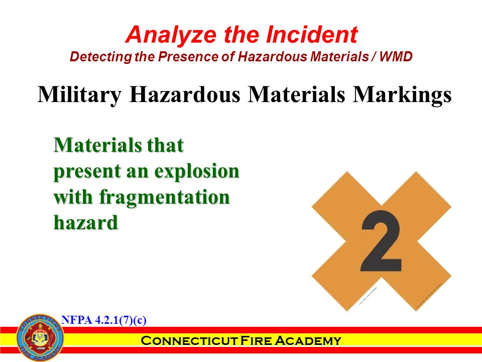 Connecticut Fire Academy Analyze the Incident Detecting the Presence of Hazardous Materials / WMD Materials that present an explosion with fragmentation hazard Military Hazardous Materials Markings NFPA 4.2.1(7)(c)