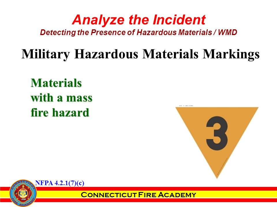 Connecticut Fire Academy Analyze the Incident Detecting the Presence of Hazardous Materials / WMD Materials with a mass fire hazard Military Hazardous Materials Markings NFPA 4.2.1(7)(c)