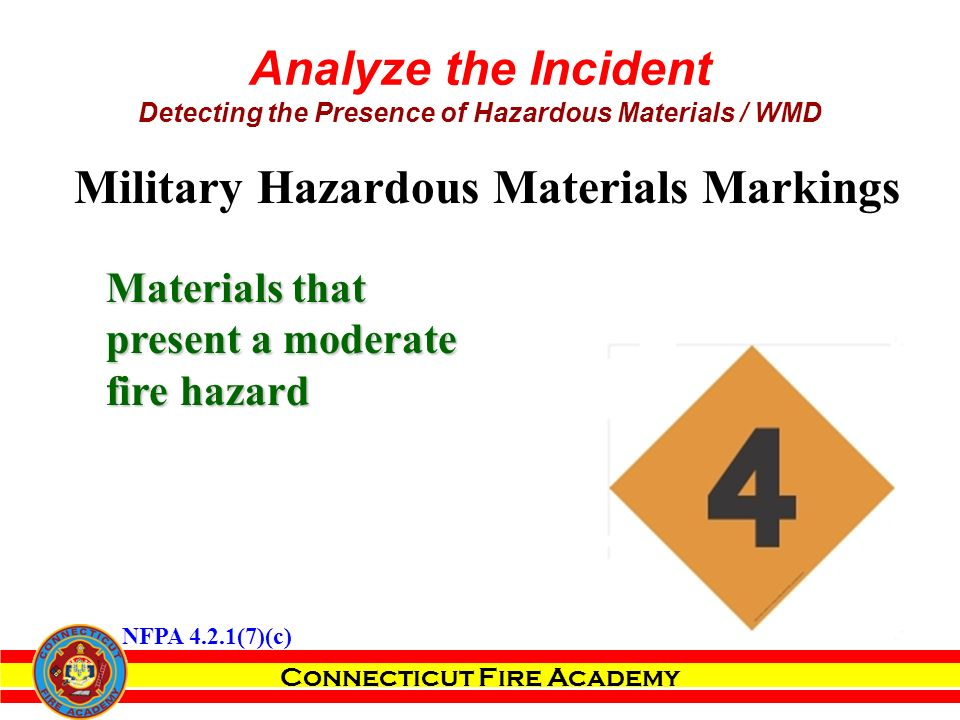 Connecticut Fire Academy Analyze the Incident Detecting the Presence of Hazardous Materials / WMD Materials that present a moderate fire hazard Military Hazardous Materials Markings NFPA 4.2.1(7)(c)