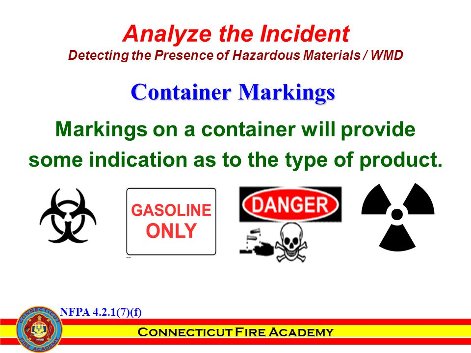 Markings on a container will provide some indication as to the type of product.
