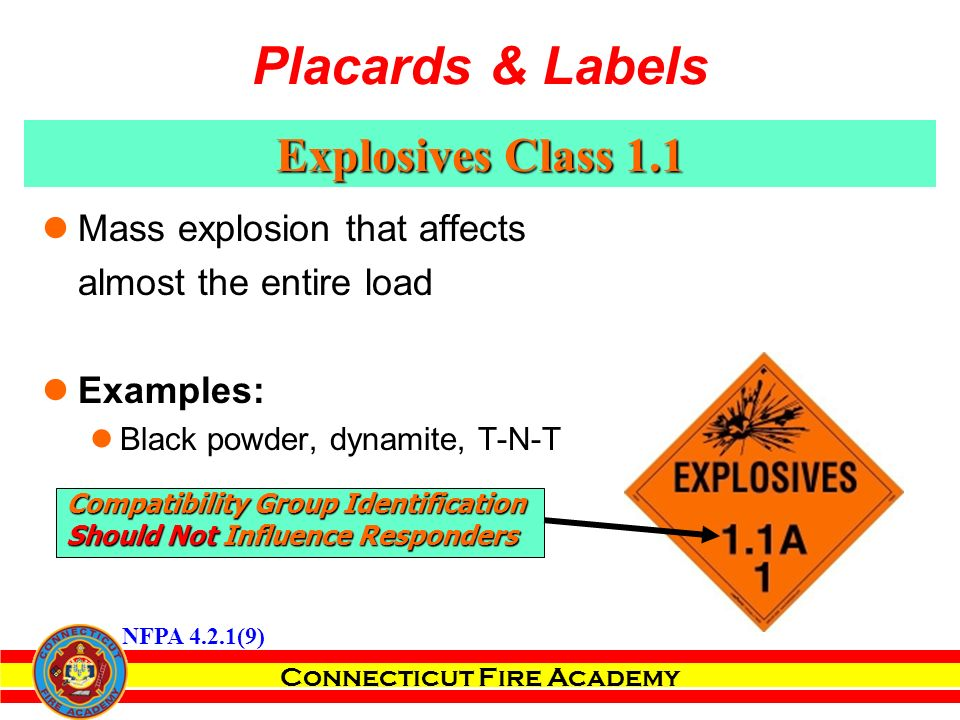 Connecticut Fire Academy Explosives Class 1.1 Mass explosion that affects almost the entire load Examples: Black powder, dynamite, T-N-T Compatibility Group Identification Should Not Influence Responders NFPA 4.2.1(9) Placards & Labels