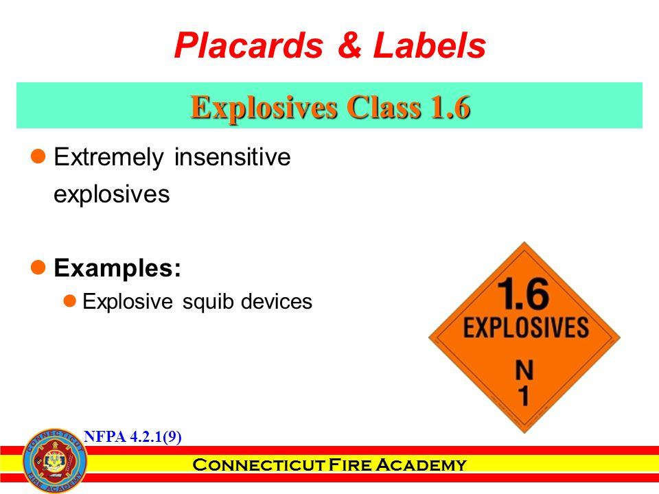 Connecticut Fire Academy Explosives Class 1.6 Extremely insensitive explosives Examples: Explosive squib devices NFPA 4.2.1(9) Placards & Labels
