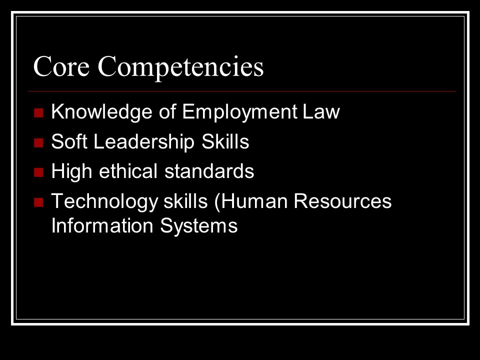 core competences A core competency is knowledge or expertise in a given area check out some examples to better understand the concept.