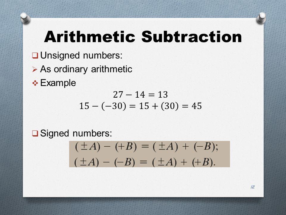 Arithmetic Subtraction 12