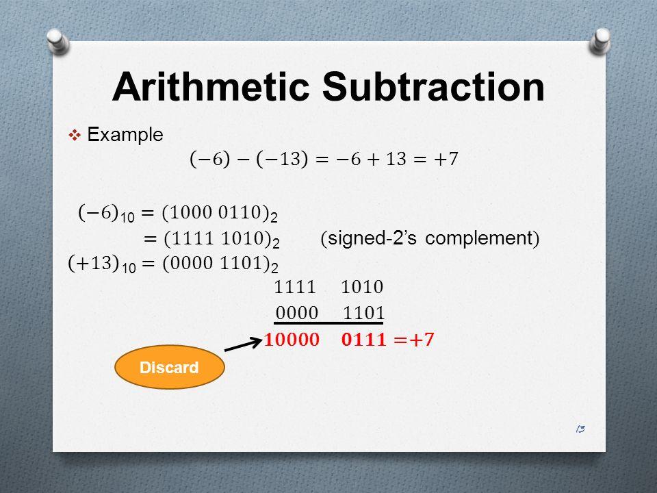 Arithmetic Subtraction 13 Discard