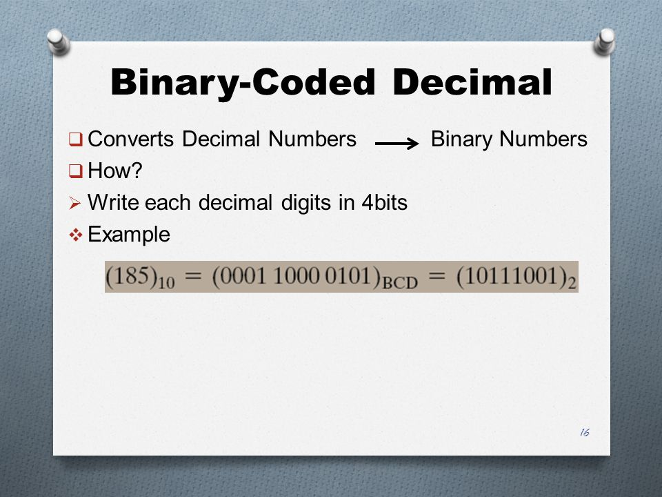 Binary-Coded Decimal  Converts Decimal Numbers Binary Numbers  How.