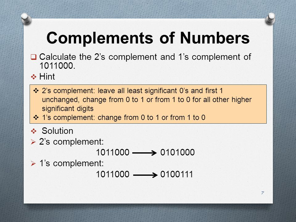 Complements of Numbers  Calculate the 2's complement and 1's complement of 1011000.