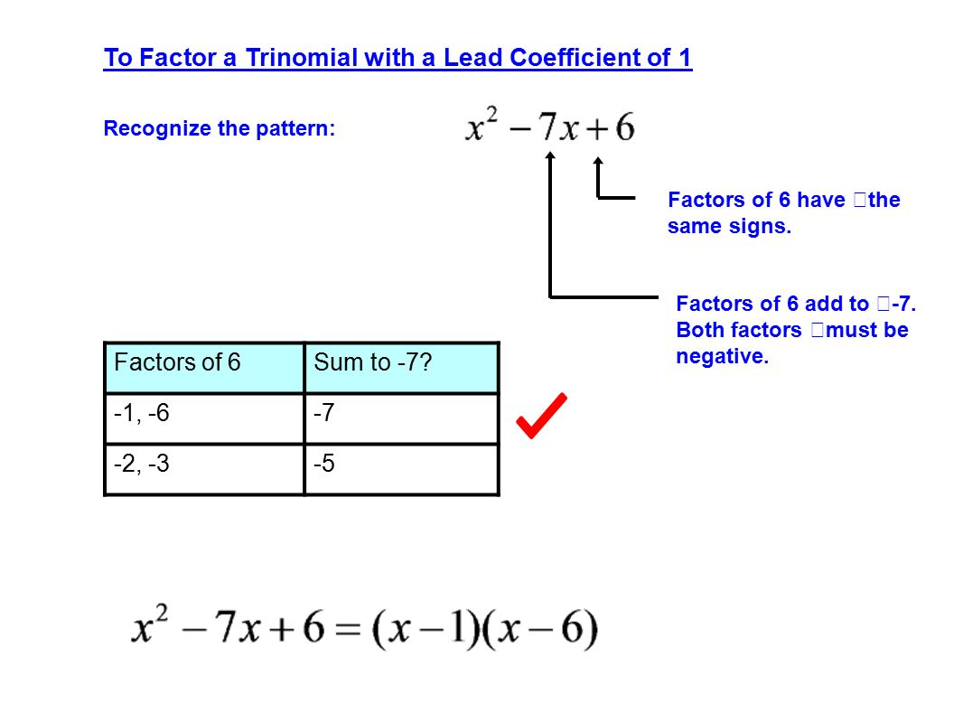 To Factor A Trinomial With A Lead Coefficient Of 1 Recognize The Pattern:  Factors Of