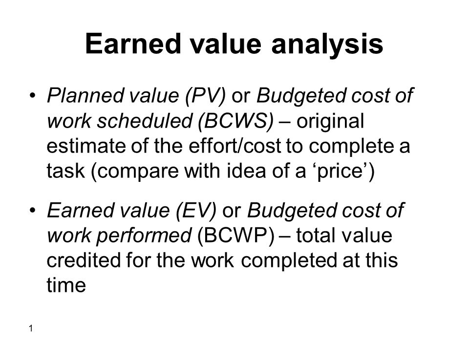 Earned Value Analysis Planned Value Pv Or Budgeted Cost Of