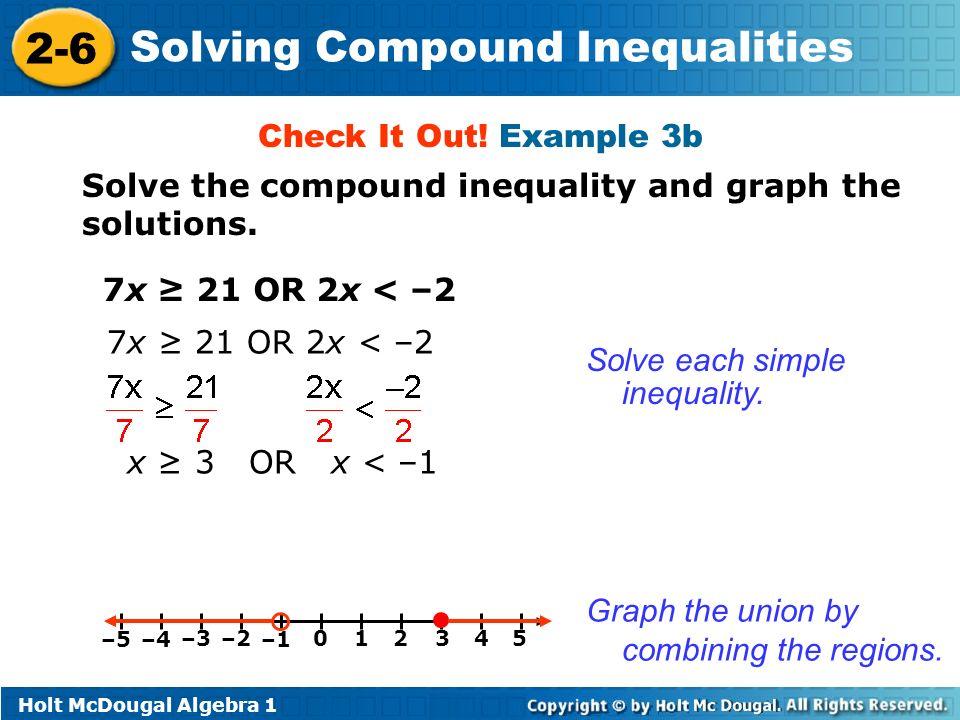 Holt McDougal Algebra Solving Compound Inequalities Warm Up Solve – Graphing Compound Inequalities Worksheet