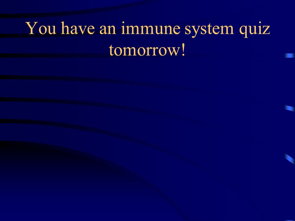 You have an immune system quiz tomorrow!
