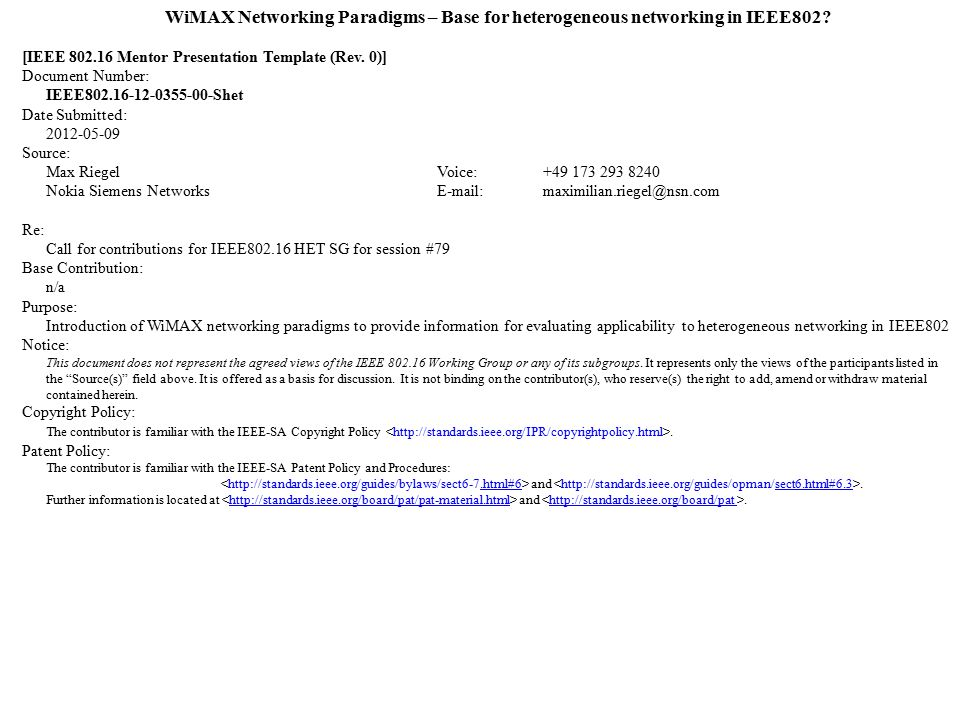 wimax networking paradigms – base for heterogeneous networking in, Presentation templates