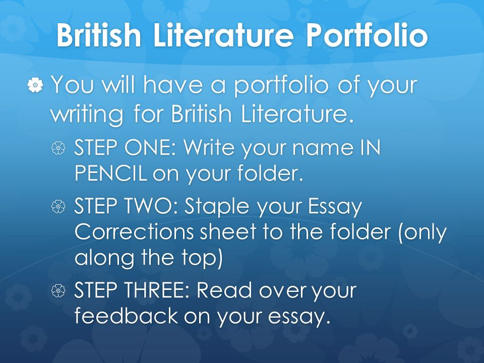 Write my british literature essay