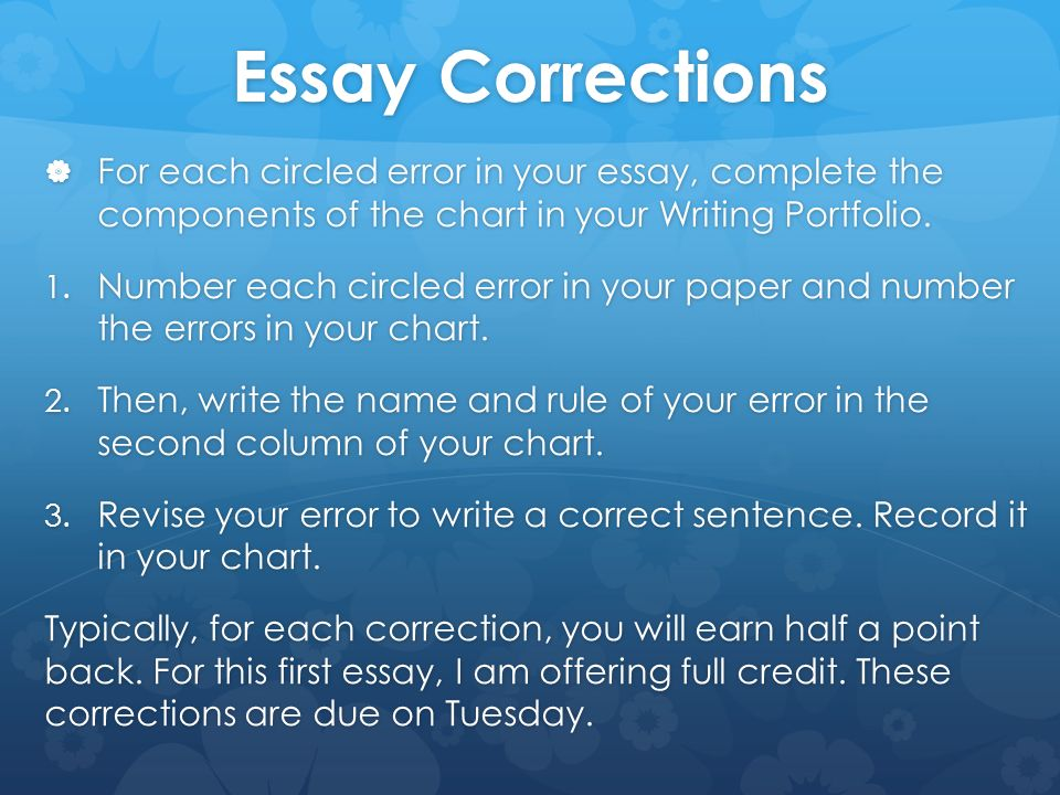 online essay corrections Essay editing is crucial for successful writing we provide a trusted essay editor who can make your the composition is incomplete without professional editing, because the correction expert helps you.