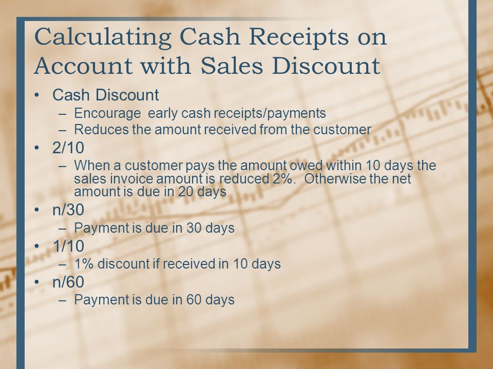 Neat Receipts Vs Scansnap Word Chapter  Journalize Sale Sand Cash Receipts Using Special  Medical Records Invoice Pdf with Organizing Receipts Calculating Cash Receipts On Account With Sales Discount Cash Discount  Encourage Early Cash Receipts Acknowledgement Letter Of Receipt Pdf