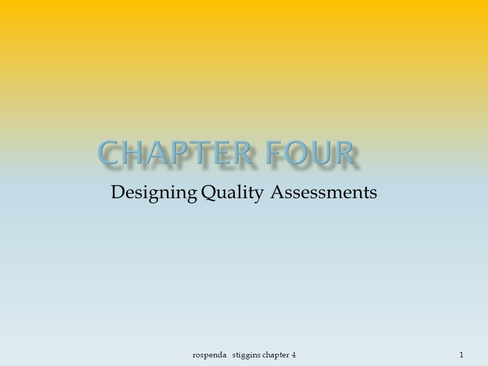 assessment essay quality stiggins High quality assessment is essential in all assessment contacts essay assessment student-centered classroom assessment, page 2 of 2.