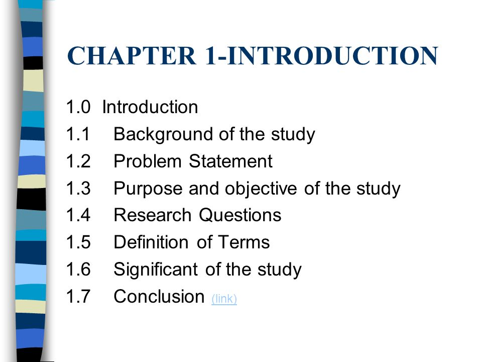 thesis chapter 1 significance of the study Significance of the study in thesis is a part where you will tell the importance and purpose of your study this part is tell how the study.