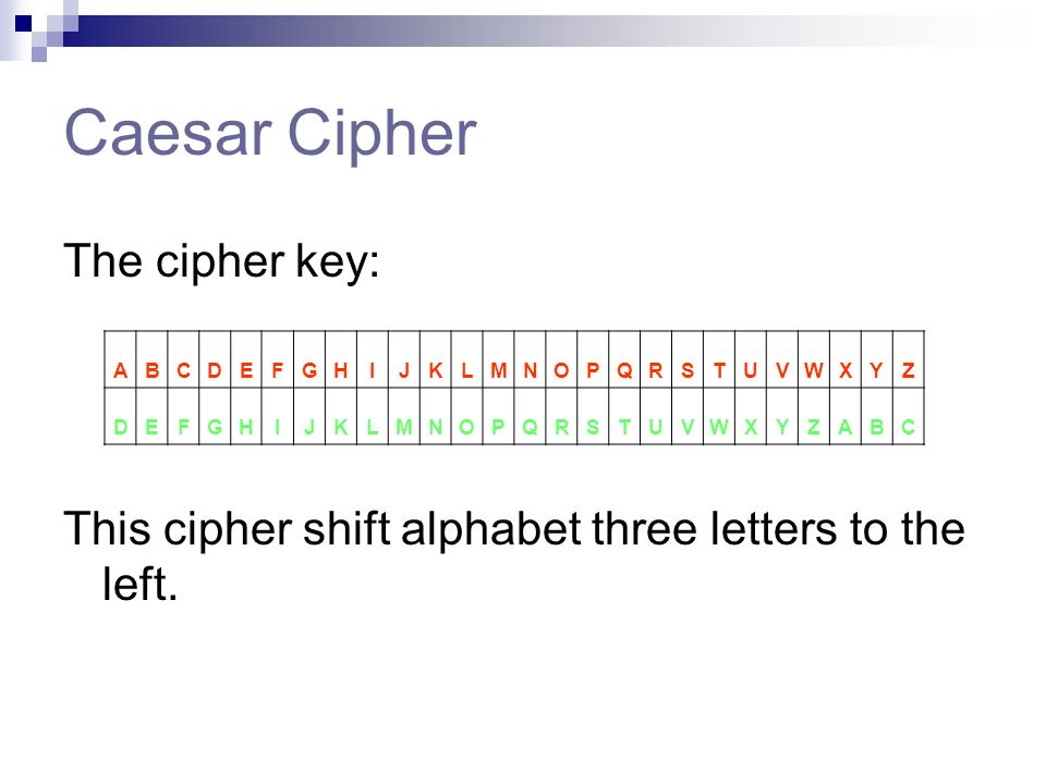Caesar Cipher The Key This Shift Alphabet Three Letters To Left