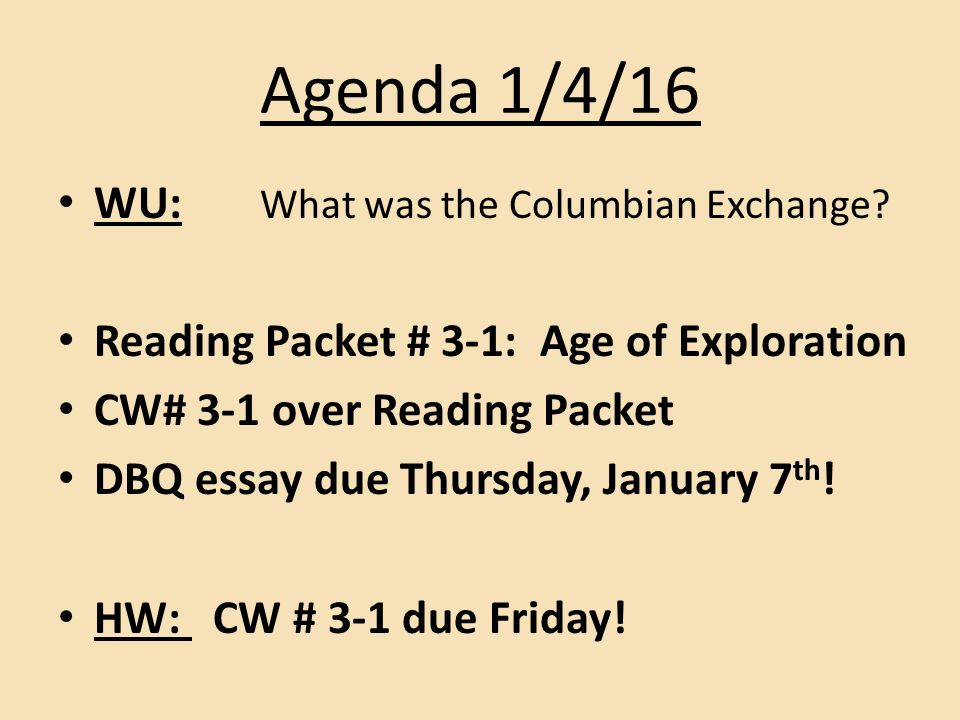 agenda wu what was the columbian exchange reading packet  1 agenda
