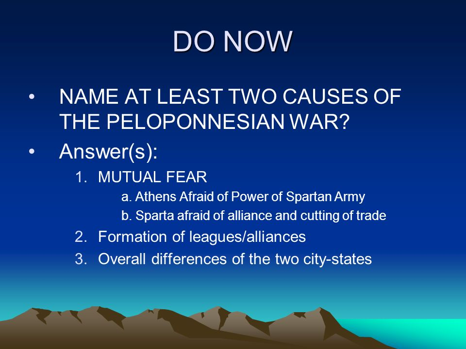 Causes of the Peloponnesian War?