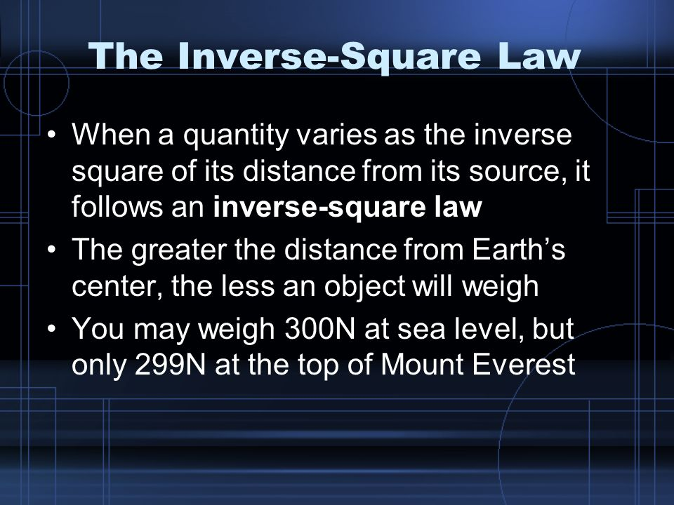 the inverse square law essay Objectives: become familiarize with photon exponential attenuation through materials and measure the half-value layer thickness for the given filters and its attenuation coefficient, and inverse square law verification.