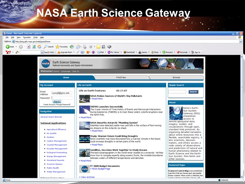 24 NASA Earth Science Gateway
