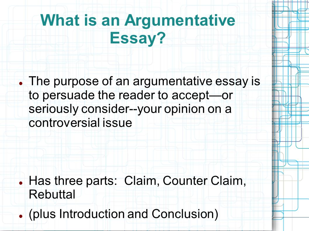 The argumentative essay introducing the counter argument and
