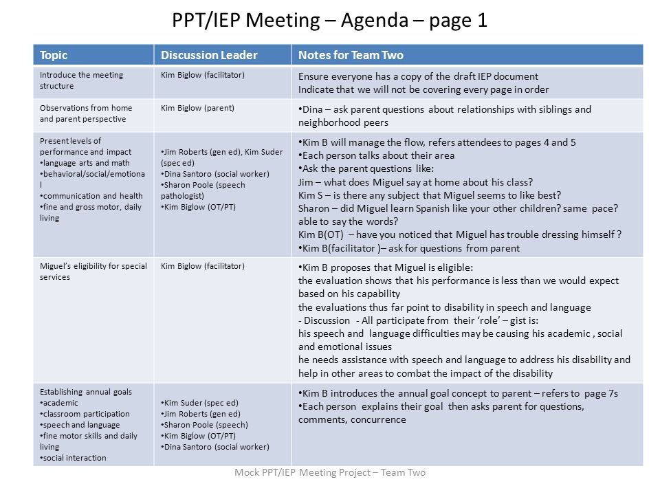 ppt/iep meeting – agenda – page 1 mock ppt/iep meeting project, Powerpoint templates