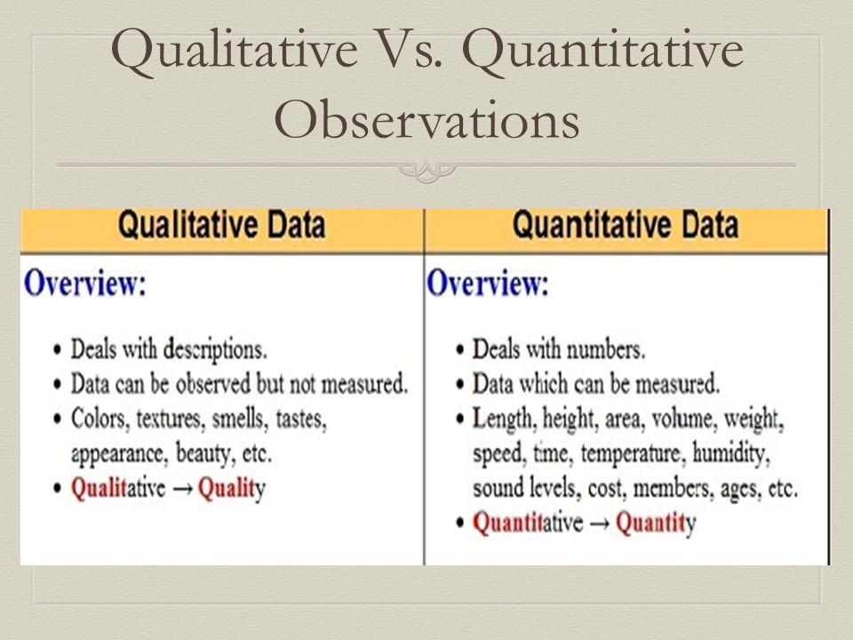 Qualitative Vs. Quantitative Observations. Qualitative Vs ...