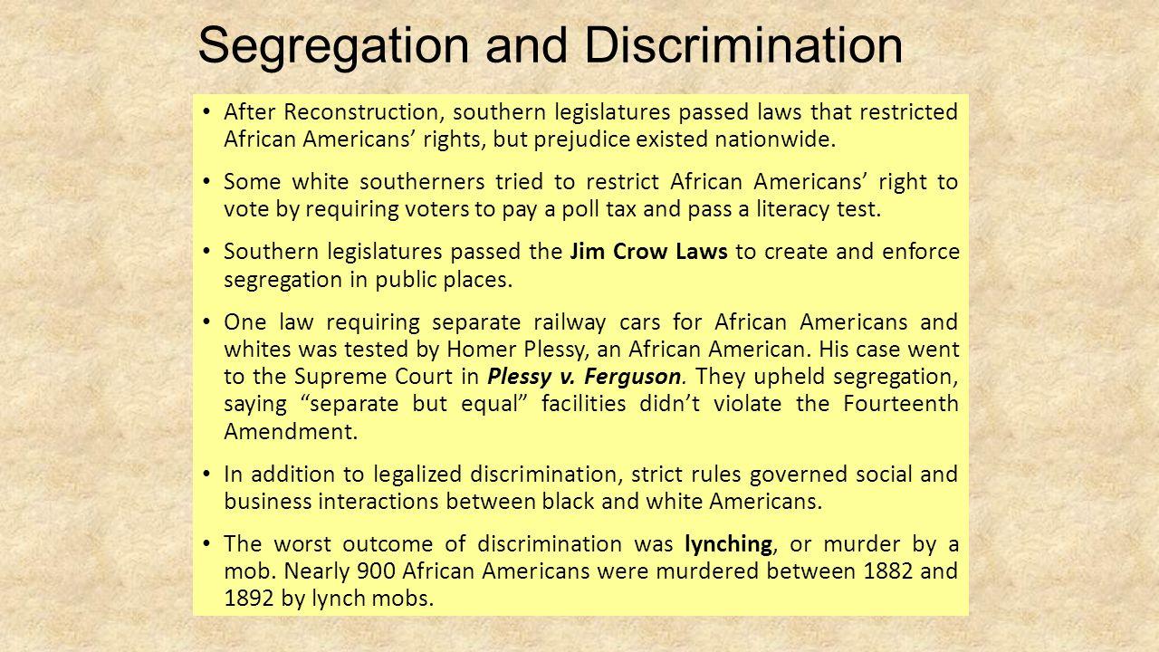 discrimination and segregation