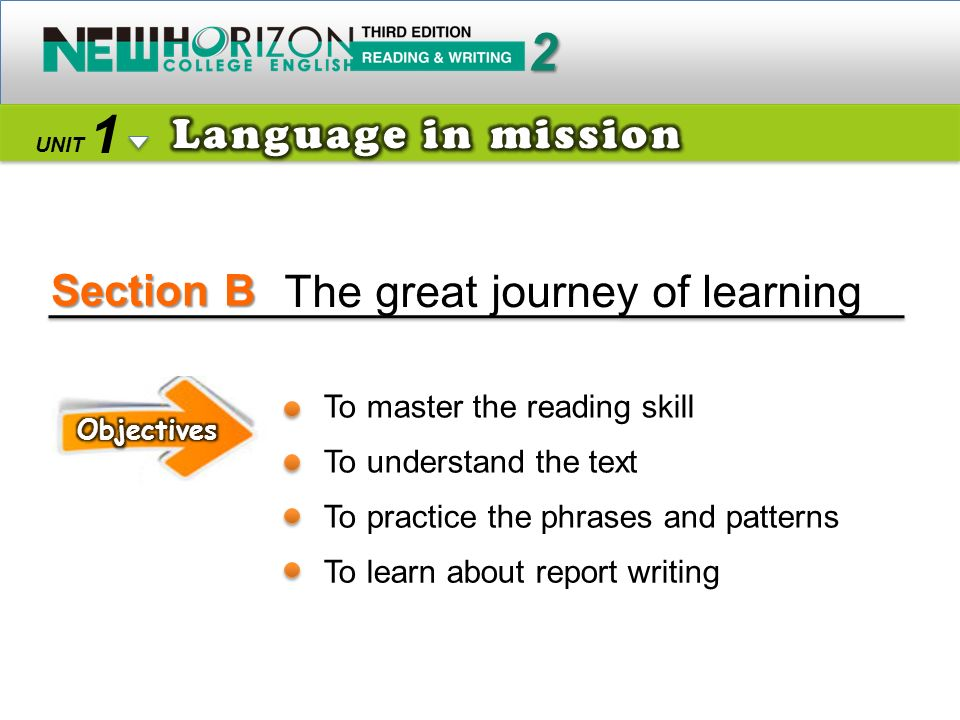 Section B 2 1 UNIT The great journey of learning To master the reading skill To understand the text To practice the phrases and patterns To learn about report writing
