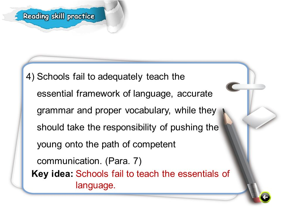 4) Schools fail to adequately teach the essential framework of language, accurate grammar and proper vocabulary, while they should take the responsibility of pushing the young onto the path of competent communication.