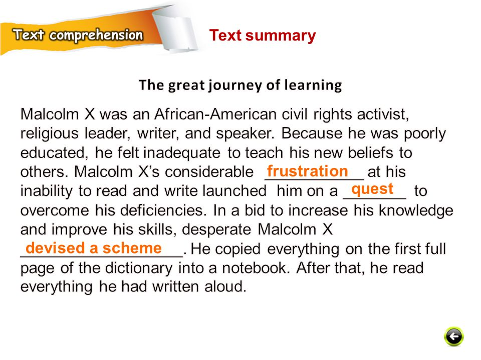 frustration quest devised a scheme Text summary