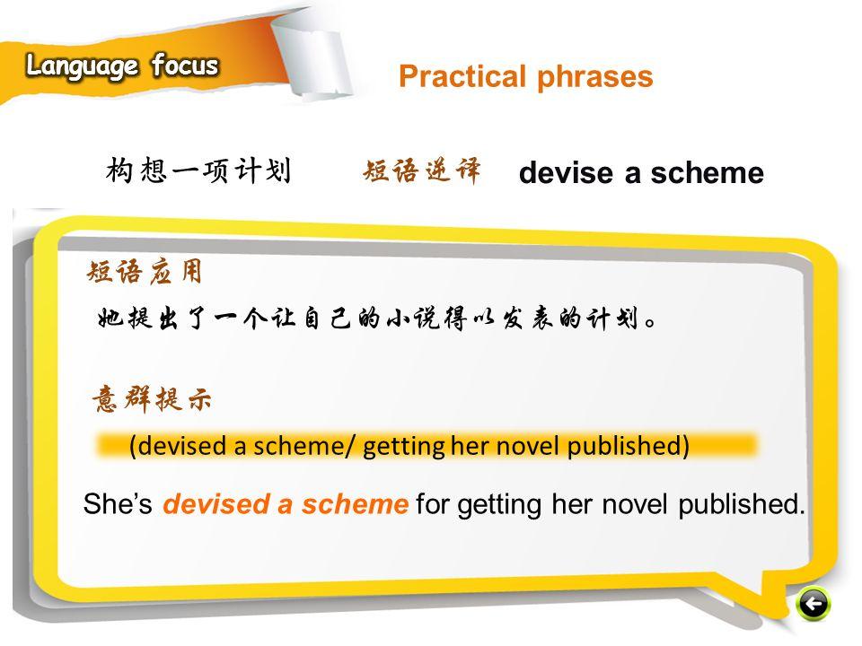 构想一项计划 (devised a scheme/ getting her novel published) She's devised a scheme for getting her novel published.