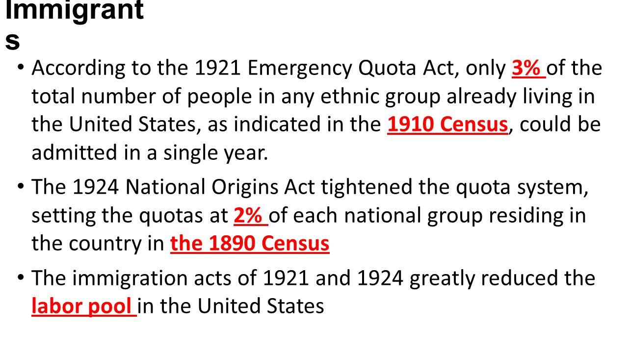 Emergency Quota Act 1920s