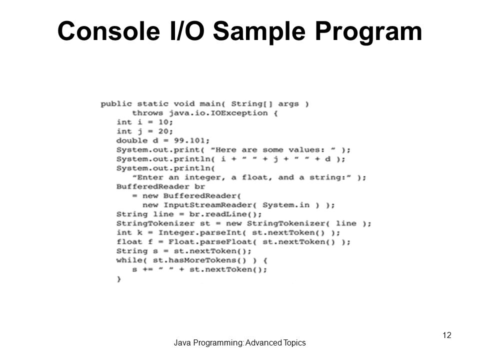 Java Programming: Advanced Topics 12 Console I/O Sample Program