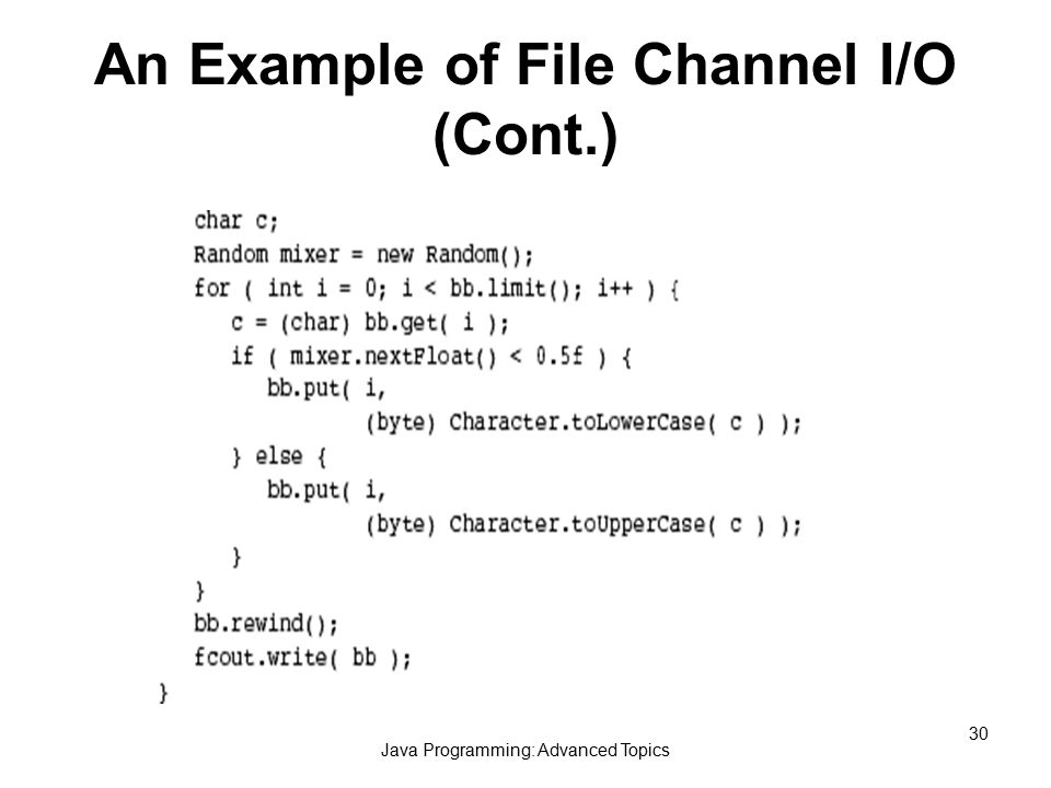 Java Programming: Advanced Topics 30 An Example of File Channel I/O (Cont.)