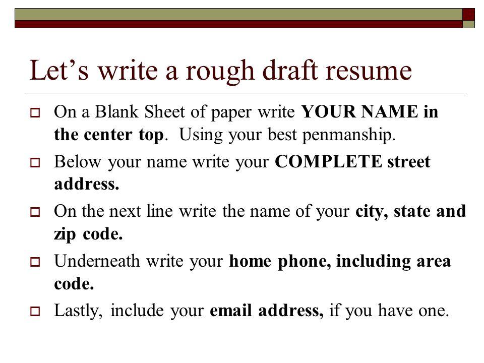 resume rough draft