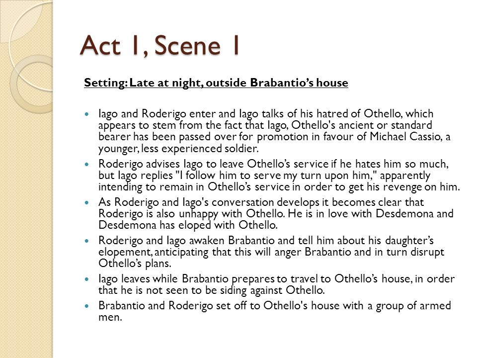 othello detailed act 1