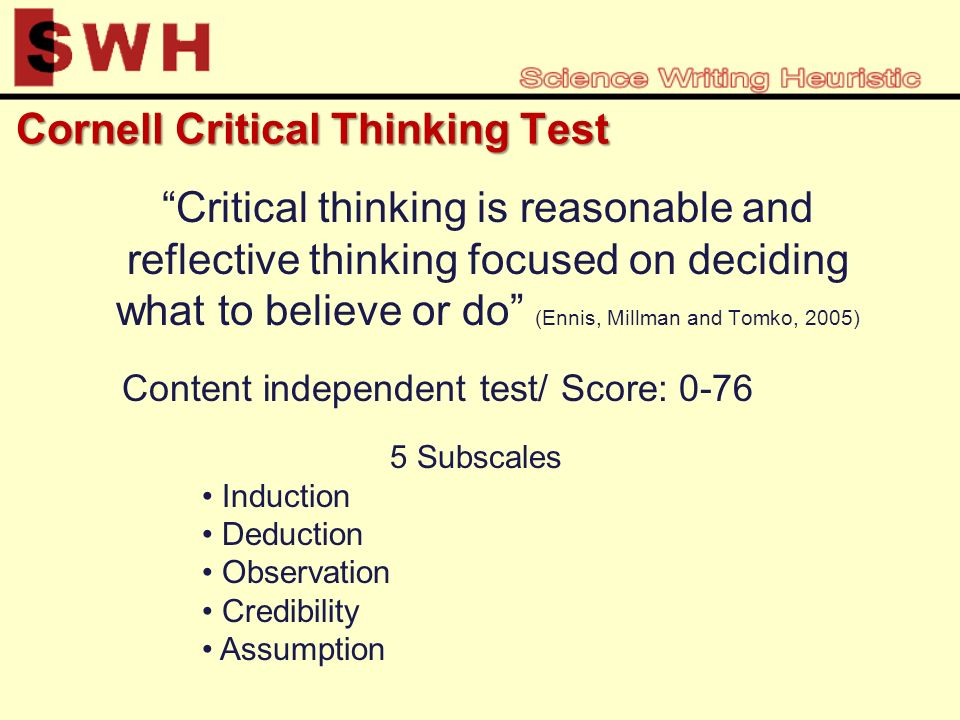 cornell critical thinking test level x 2005