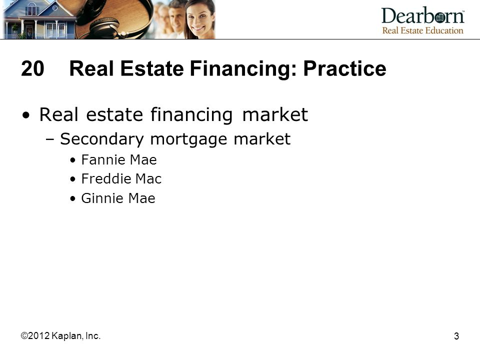 20Real Estate Financing: Practice Real estate financing market –Secondary mortgage market Fannie Mae Freddie Mac Ginnie Mae 3 ©2012 Kaplan, Inc.