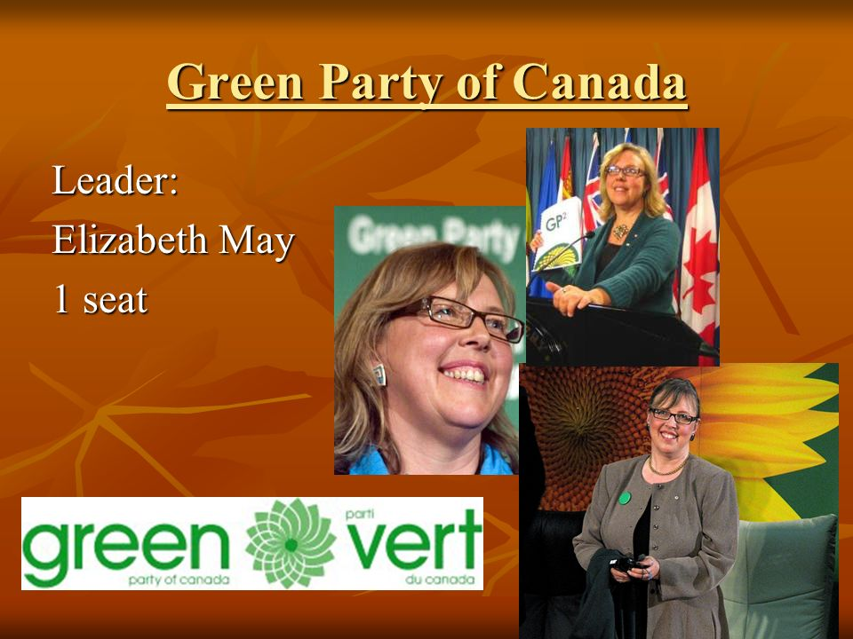 Green Party of Canada Leader: Elizabeth May 1 seat