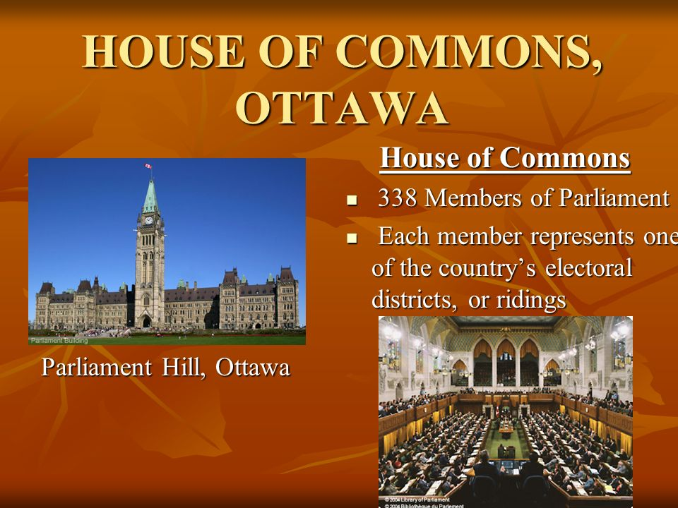 HOUSE OF COMMONS, OTTAWA Parliament Hill, Ottawa House of Commons House of Commons 338 Members of Parliament 338 Members of Parliament Each member represents one of the country's electoral districts, or ridings Each member represents one of the country's electoral districts, or ridings
