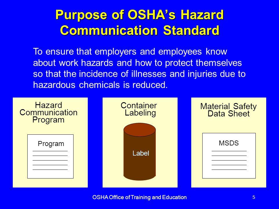 OSHA Office of Training and Education 1 Hazard Communication ...