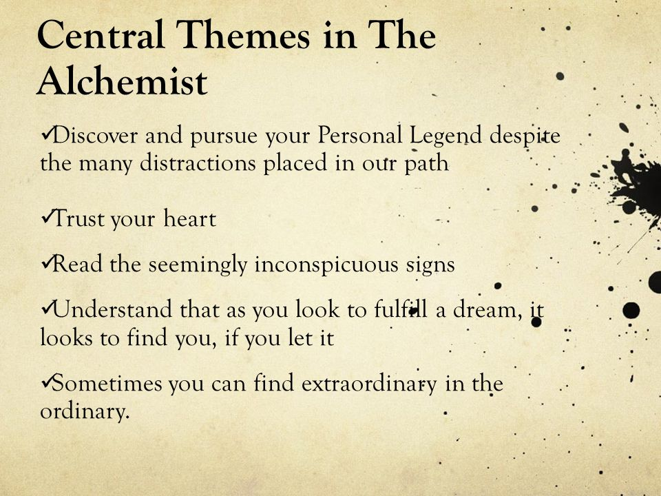the alchemist essay conclusion Dreams: dreams are central to the alchemist's action as well as its meaning critical essays themes in the alchemist symbols in the alchemist study help.