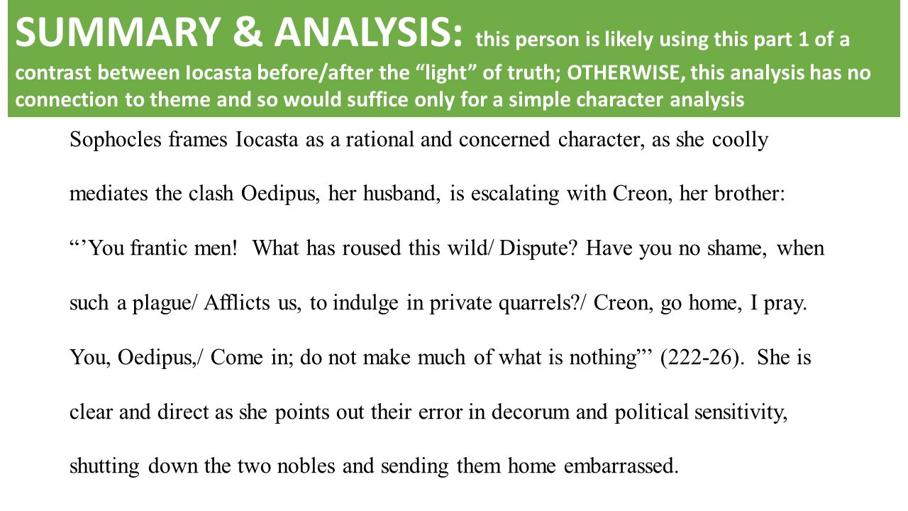 "creon analysis Essay, literature world literature after conducting a careful analysis, creon and saul had many similarities and differences one of the main differences that distinguishes creon is that she aligned with his morals as she wanted to break away from the traditional ""cult of domesticity"" in which women had limited rights."