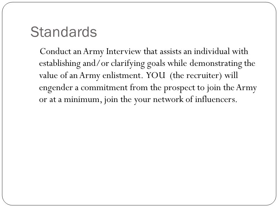 The army interview process action conduct the army interview ppt 4 standards fandeluxe Image collections